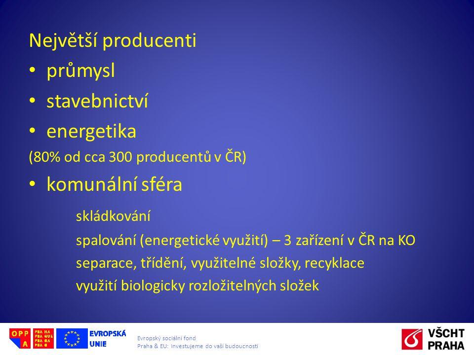 Evropský sociální fond Praha & EU: Investujeme do vaší budoucnosti Největší producenti • průmysl • stavebnictví • energetika (80% od cca 300 producentů v ČR) • komunální sféra skládkování spalování (energetické využití) – 3 zařízení v ČR na KO separace, třídění, využitelné složky, recyklace využití biologicky rozložitelných složek
