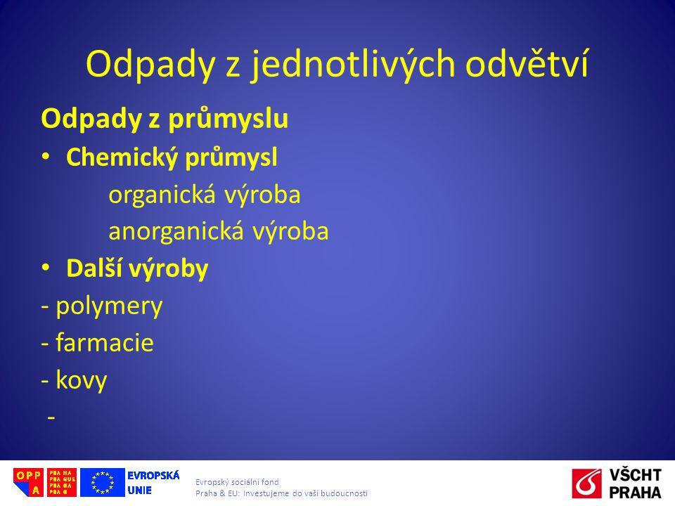 Evropský sociální fond Praha & EU: Investujeme do vaší budoucnosti Odpady z jednotlivých odvětví Odpady z průmyslu • Chemický průmysl organická výroba anorganická výroba • Další výroby - polymery - farmacie - kovy -