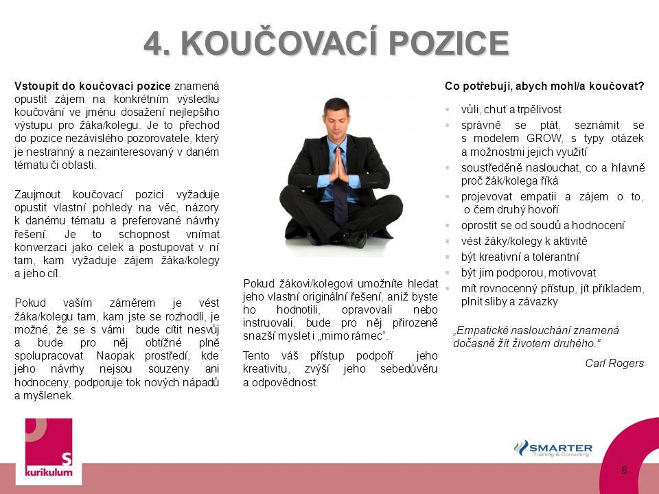 Vstoupit do koučovací pozice znamená opustit zájem na konkrétním výsledku koučování ve jménu dosažení nejlepšího výstupu pro žáka/kolegu. Je to přecho