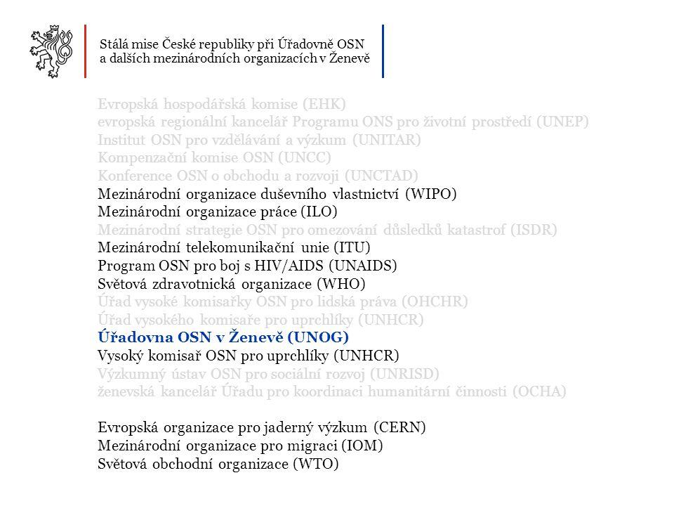 Stálá mise České republiky při Úřadovně OSN a dalších mezinárodních organizacích v Ženevě Evropská hospodářská komise (EHK) evropská regionální kancelář Programu ONS pro životní prostředí (UNEP) Institut OSN pro vzdělávání a výzkum (UNITAR) Kompenzační komise OSN (UNCC) Konference OSN o obchodu a rozvoji (UNCTAD) Mezinárodní organizace duševního vlastnictví (WIPO) Mezinárodní organizace práce (ILO) Mezinárodní strategie OSN pro omezování důsledků katastrof (ISDR) Mezinárodní telekomunikační unie (ITU) Program OSN pro boj s HIV/AIDS (UNAIDS) Světová zdravotnická organizace (WHO) Úřad vysoké komisařky OSN pro lidská práva (OHCHR) Úřad vysokého komisaře pro uprchlíky (UNHCR) Úřadovna OSN v Ženevě (UNOG) Vysoký komisař OSN pro uprchlíky (UNHCR) Výzkumný ústav OSN pro sociální rozvoj (UNRISD) ženevská kancelář Úřadu pro koordinaci humanitární činnosti (OCHA) Evropská organizace pro jaderný výzkum (CERN) Mezinárodní organizace pro migraci (IOM) Světová obchodní organizace (WTO)