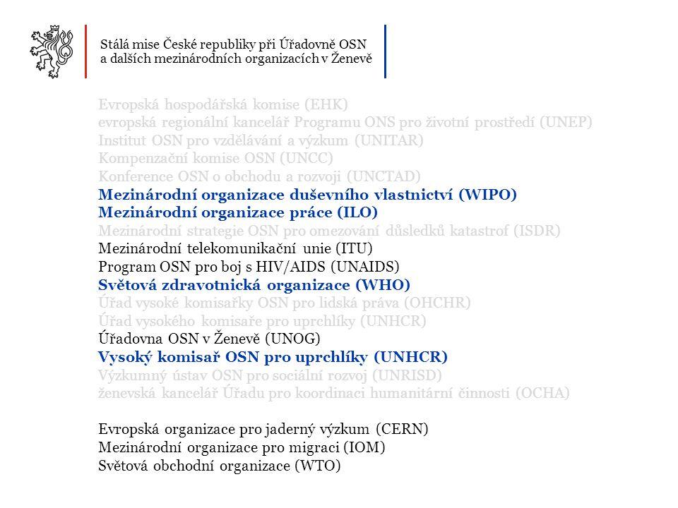 Stálá mise České republiky při Úřadovně OSN a dalších mezinárodních organizacích v Ženevě Mezinárodní organizace duševního vlastnictví (WIPO) Ročně utratí 127 mil.