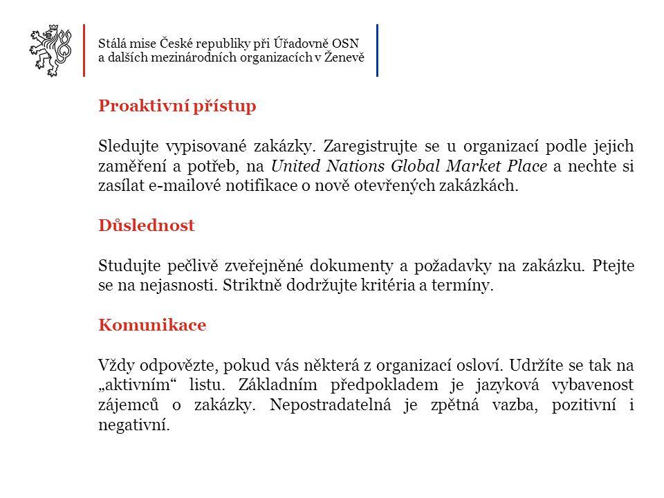 Stálá mise České republiky při Úřadovně OSN a dalších mezinárodních organizacích v Ženevě Proaktivní přístup Sledujte vypisované zakázky. Zaregistrujt