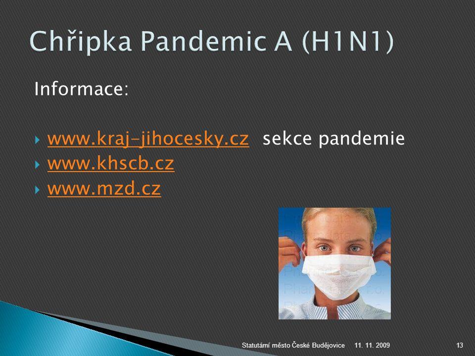 Informace:  www.kraj-jihocesky.cz sekce pandemie www.kraj-jihocesky.cz  www.khscb.cz www.khscb.cz  www.mzd.cz www.mzd.cz 11. 11. 2009Statutární měs