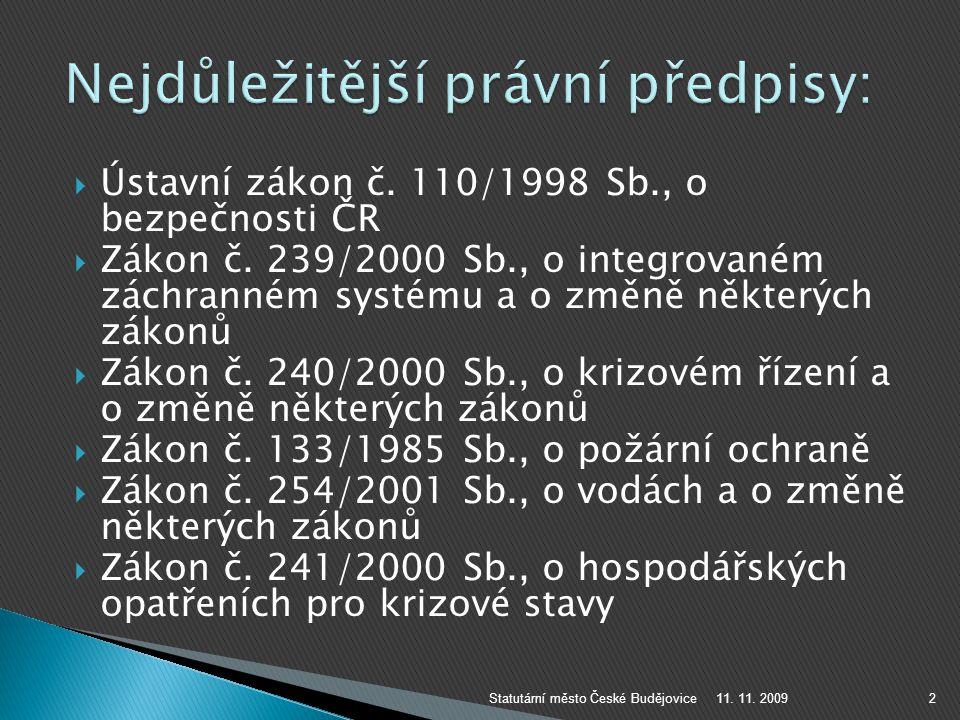  Ústavní zákon č. 110/1998 Sb., o bezpečnosti ČR  Zákon č. 239/2000 Sb., o integrovaném záchranném systému a o změně některých zákonů  Zákon č. 240