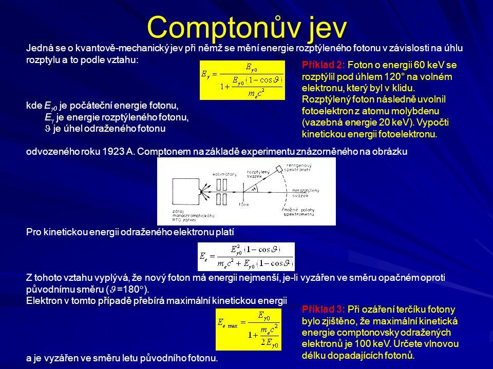 Comptonův jev Jedná se o kvantově-mechanický jev při němž se mění energie rozptýleného fotonu v závislosti na úhlu rozptylu a to podle vztahu: kde E 