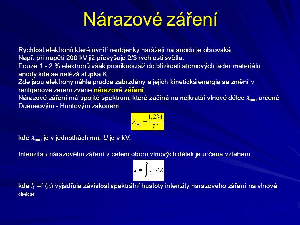 Nárazové záření Rychlost elektronů které uvnitř rentgenky narážejí na anodu je obrovská. Např. při napětí 200 kV již převyšuje 2/3 rychlosti světla. P