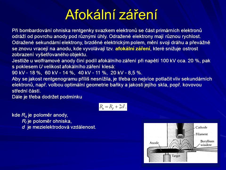 Afokální záření Při bombardování ohniska rentgenky svazkem elektronů se část primárních elektronů odráží od povrchu anody pod různými úhly. Odražené e