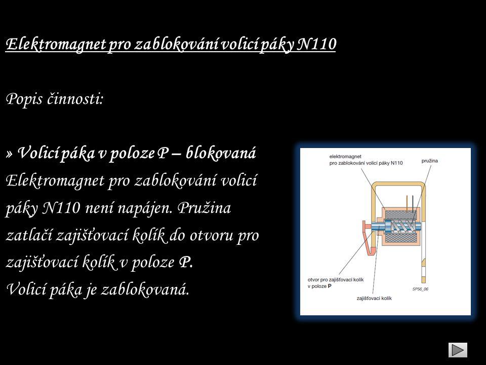 Elektromagnet pro zablokování volicí páky N110 Popis činnosti: » Volicí páka v poloze P – blokovaná Elektromagnet pro zablokování volicí páky N110 nen