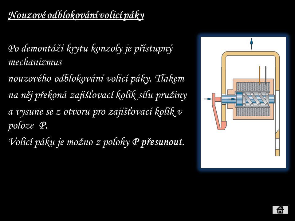 Nouzové odblokování volicí páky Po demontáži krytu konzoly je přístupný mechanizmus nouzového odblokování volicí páky. Tlakem na něj překoná zajišťova