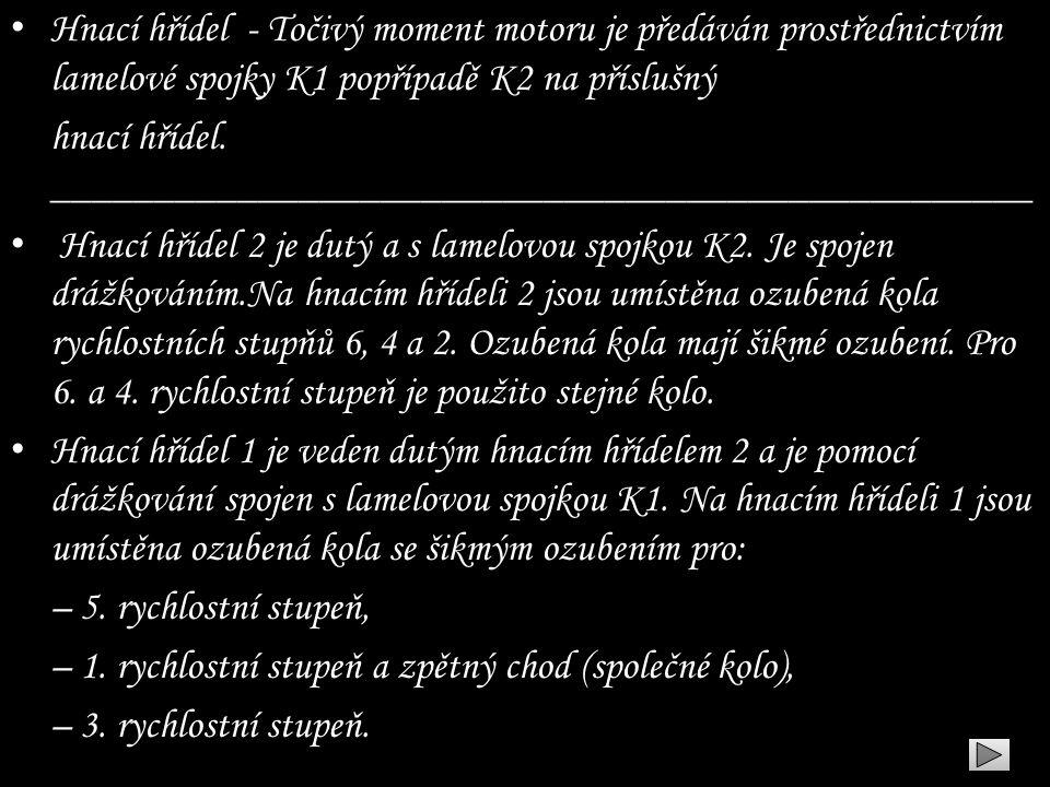 • Hnací hřídel - Točivý moment motoru je předáván prostřednictvím lamelové spojky K1 popřípadě K2 na příslušný hnací hřídel. _________________________