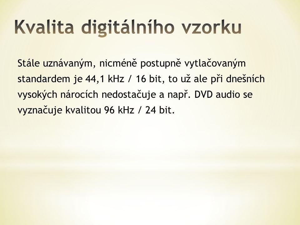 Stále uznávaným, nicméně postupně vytlačovaným standardem je 44,1 kHz / 16 bit, to už ale při dnešních vysokých nárocích nedostačuje a např. DVD audio