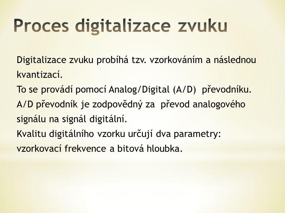 Digitalizace zvuku probíhá tzv. vzorkováním a následnou kvantizací. To se provádí pomocí Analog/Digital (A/D) převodníku. A/D převodník je zodpovědný