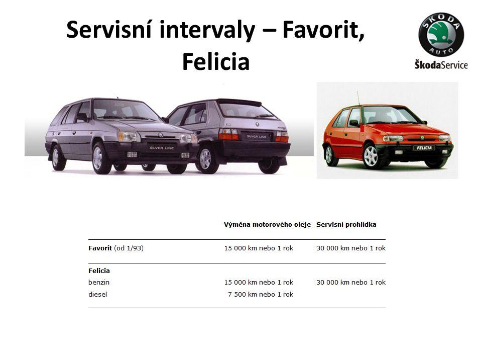 Servisní intervaly – Favorit, Felicia