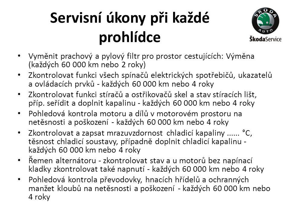 Servisní úkony při každé prohlídce • Vyměnit prachový a pylový filtr pro prostor cestujících: Výměna (každých 60 000 km nebo 2 roky) • Zkontrolovat fu