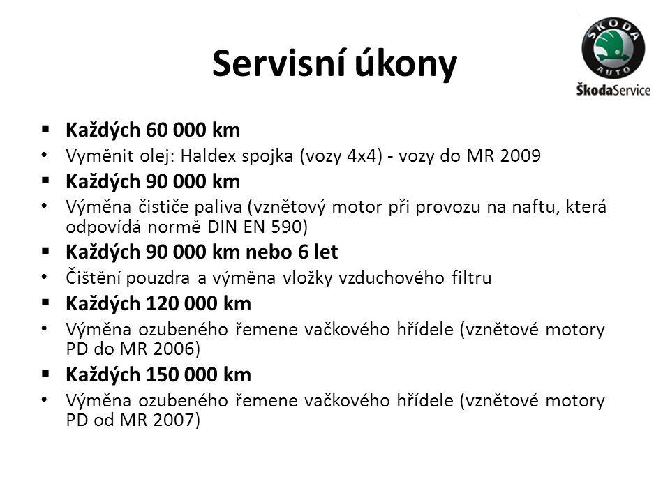 Servisní úkony  Každých 60 000 km • Vyměnit olej: Haldex spojka (vozy 4x4) - vozy do MR 2009  Každých 90 000 km • Výměna čističe paliva (vznětový mo