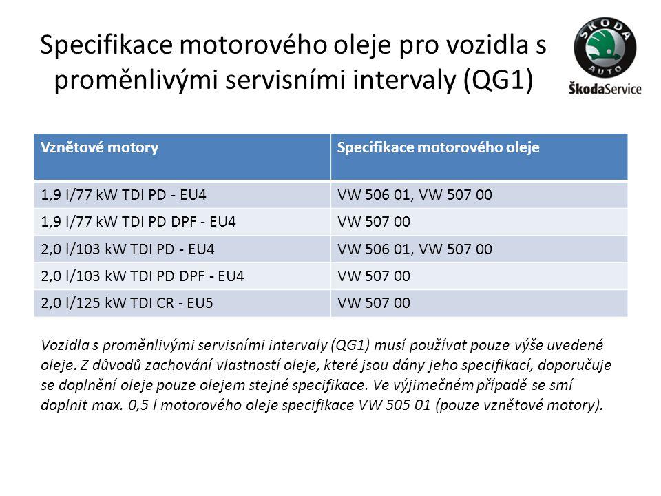 Specifikace motorového oleje pro vozidla s proměnlivými servisními intervaly (QG1) Vznětové motorySpecifikace motorového oleje 1,9 l/77 kW TDI PD - EU
