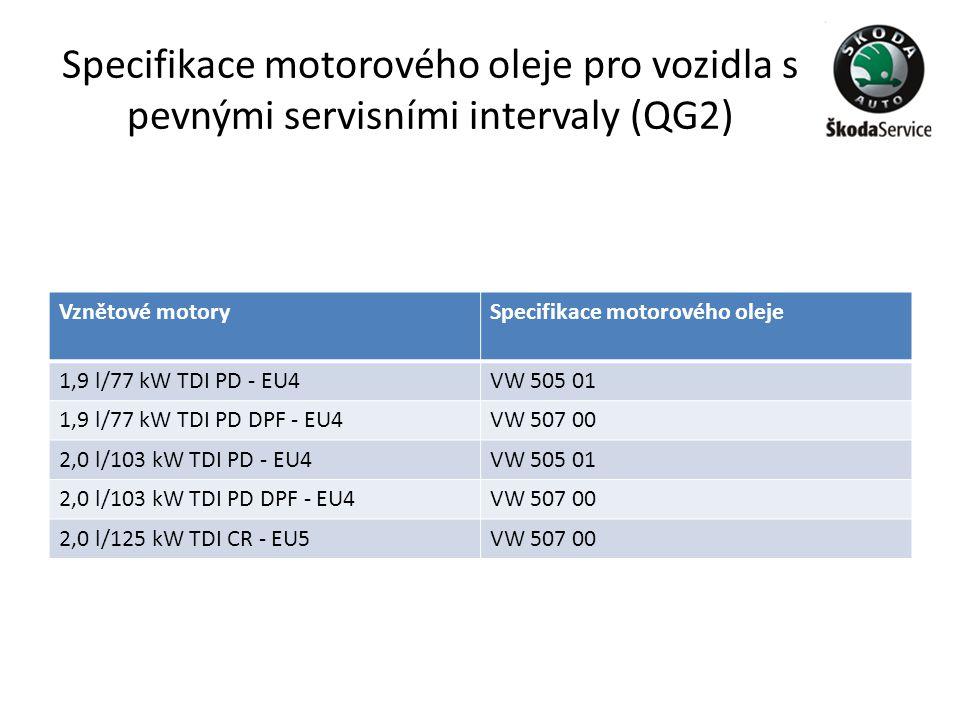 Specifikace motorového oleje pro vozidla s pevnými servisními intervaly (QG2) Vznětové motorySpecifikace motorového oleje 1,9 l/77 kW TDI PD - EU4VW 5