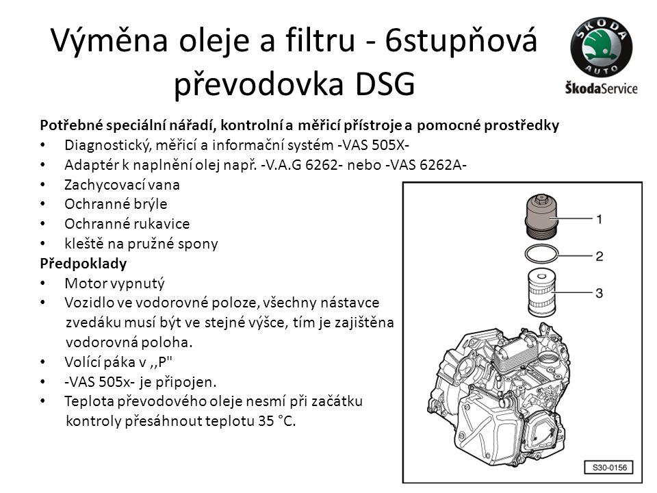 Výměna oleje a filtru - 6stupňová převodovka DSG Potřebné speciální nářadí, kontrolní a měřicí přístroje a pomocné prostředky • Diagnostický, měřicí a