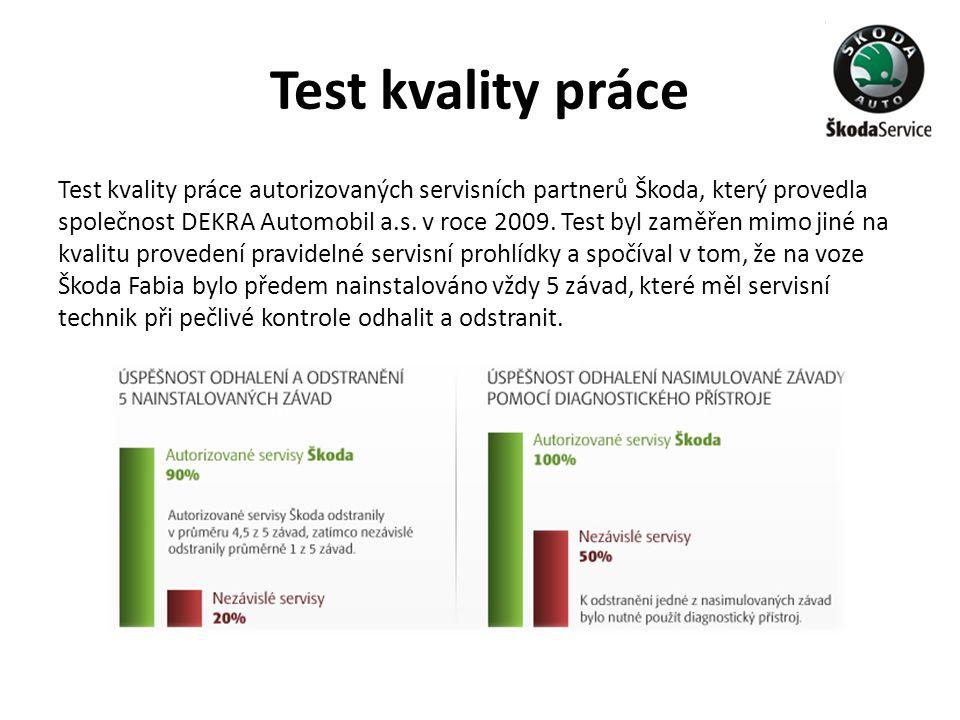 Test kvality práce Test kvality práce autorizovaných servisních partnerů Škoda, který provedla společnost DEKRA Automobil a.s. v roce 2009. Test byl z