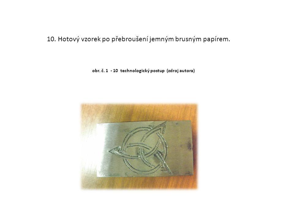 10. Hotový vzorek po přebroušení jemným brusným papírem. obr. č. 1 - 10 technologický postup (zdroj autora)