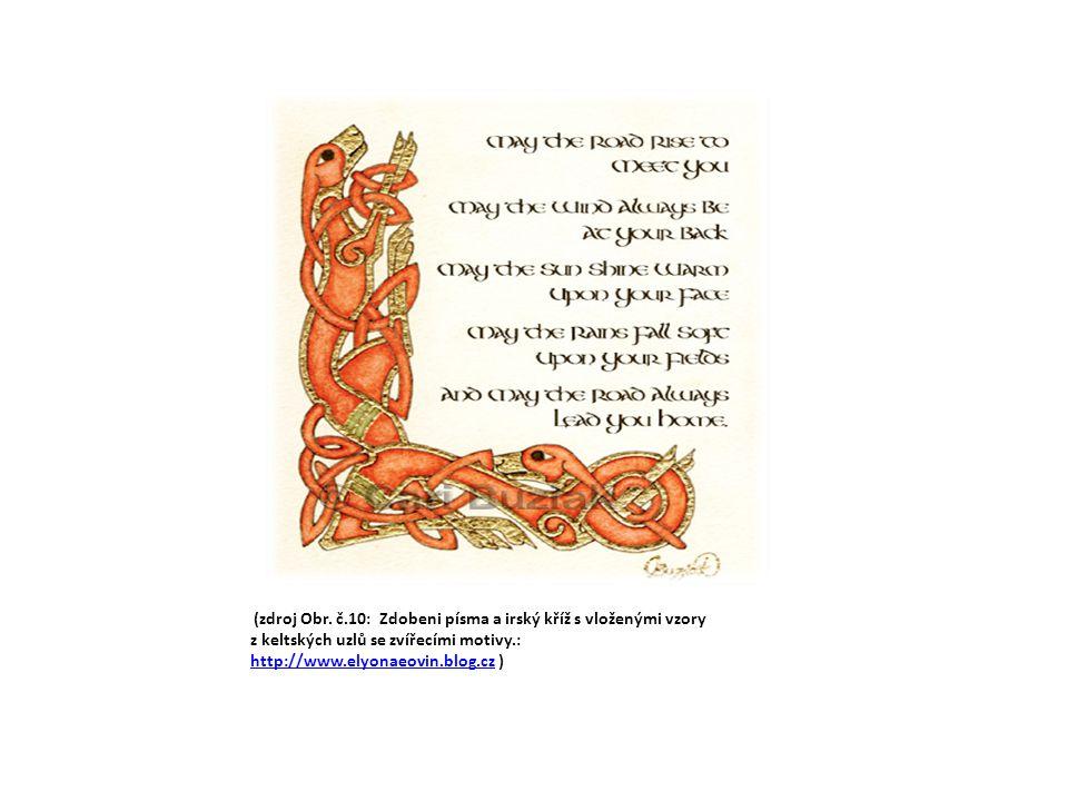 (zdroj Obr. č.10: Zdobeni písma a irský kříž s vloženými vzory z keltských uzlů se zvířecími motivy.: http://www.elyonaeovin.blog.cz ) http://www.elyo