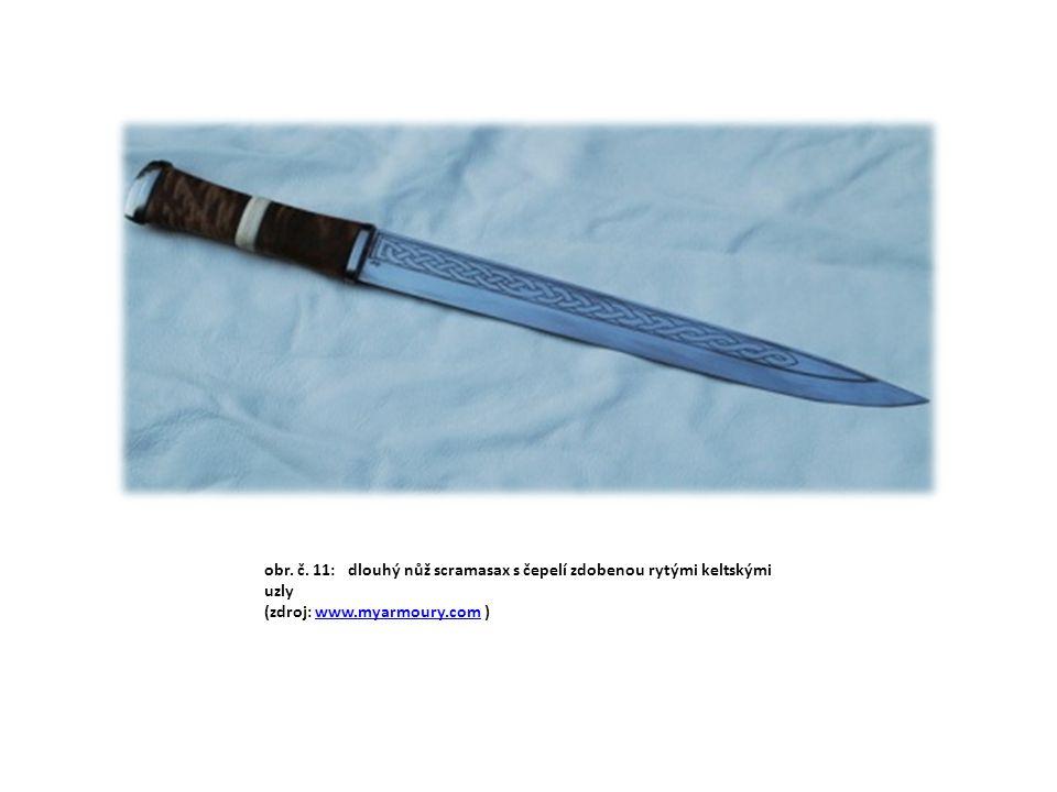 obr. č. 11: dlouhý nůž scramasax s čepelí zdobenou rytými keltskými uzly (zdroj: www.myarmoury.com )www.myarmoury.com