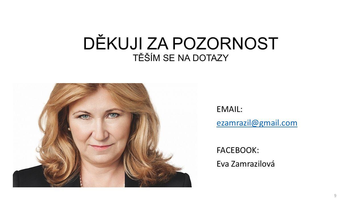 DĚKUJI ZA POZORNOST TĚŠÍM SE NA DOTAZY EMAIL: ezamrazil@gmail.com FACEBOOK: Eva Zamrazilová 9