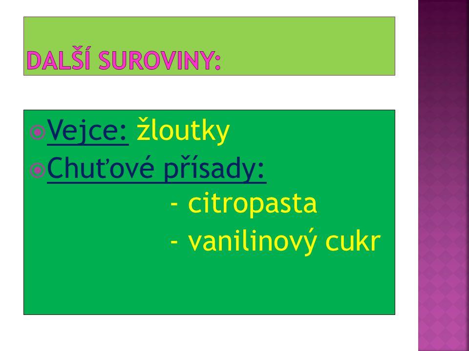  Vejce: žloutky  Chuťové přísady: - citropasta - vanilinový cukr