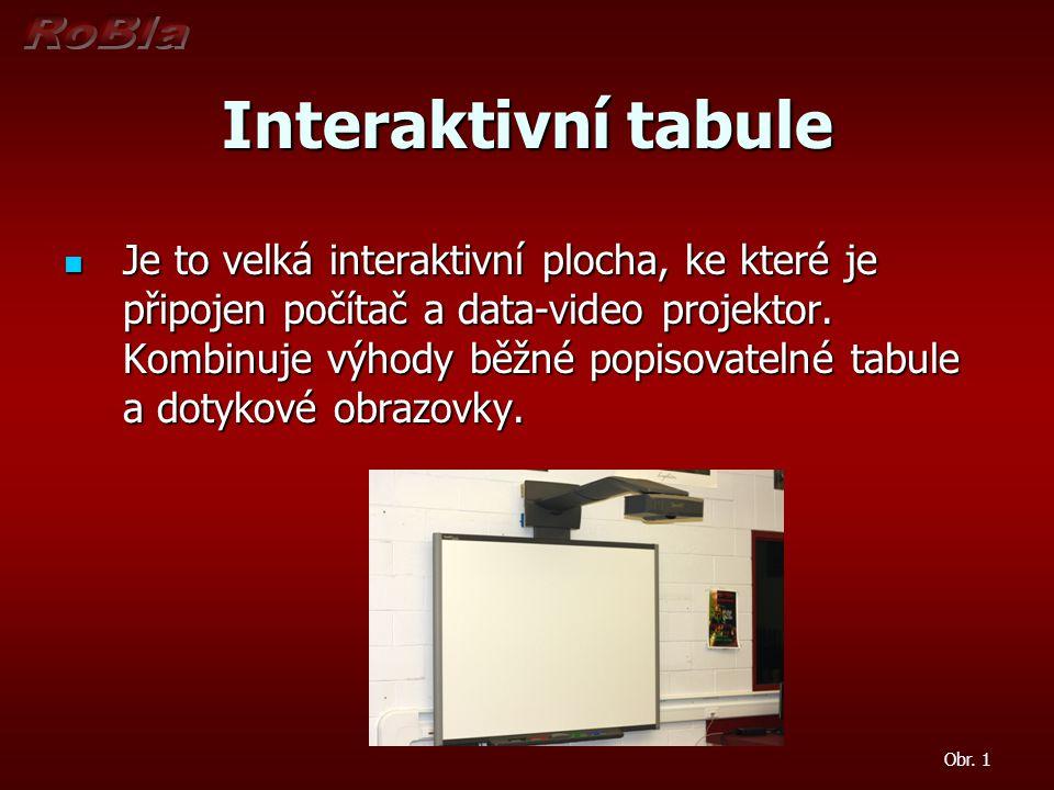 Interaktivní tabule  Je to velká interaktivní plocha, ke které je připojen počítač a data-video projektor. Kombinuje výhody běžné popisovatelné tabul