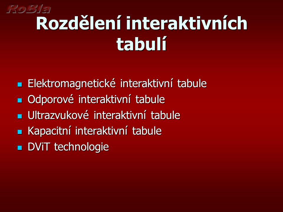Rozdělení interaktivních tabulí  Elektromagnetické interaktivní tabule  Odporové interaktivní tabule  Ultrazvukové interaktivní tabule  Kapacitní