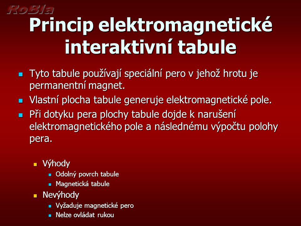 Princip elektromagnetické interaktivní tabule  Tyto tabule používají speciální pero v jehož hrotu je permanentní magnet.  Vlastní plocha tabule gene
