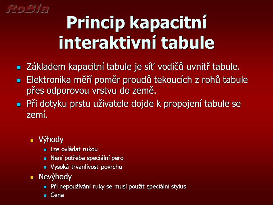 Princip kapacitní interaktivní tabule  Základem kapacitní tabule je síť vodičů uvnitř tabule.  Elektronika měří poměr proudů tekoucích z rohů tabule
