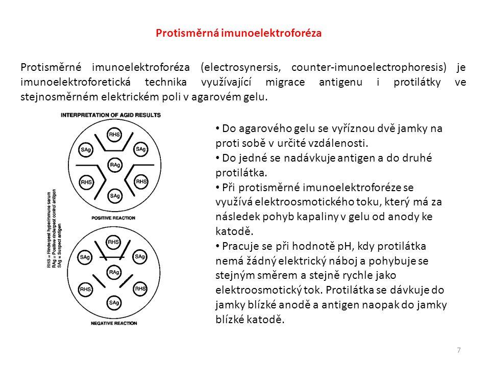 7 Protisměrná imunoelektroforéza Protisměrné imunoelektroforéza (electrosynersis, counter-imunoelectrophoresis) je imunoelektroforetická technika využívající migrace antigenu i protilátky ve stejnosměrném elektrickém poli v agarovém gelu.