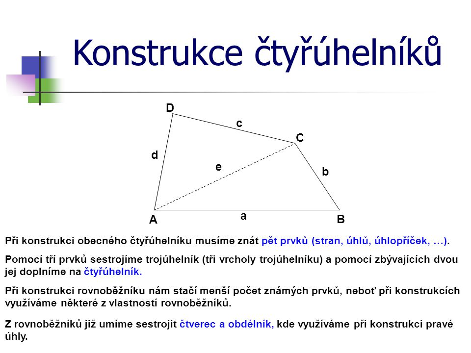 Konstrukce čtyřúhelníků Pomocí tří prvků sestrojíme trojúhelník (tři vrcholy trojúhelníku) a pomocí zbývajících dvou jej doplníme na čtyřúhelník. Při
