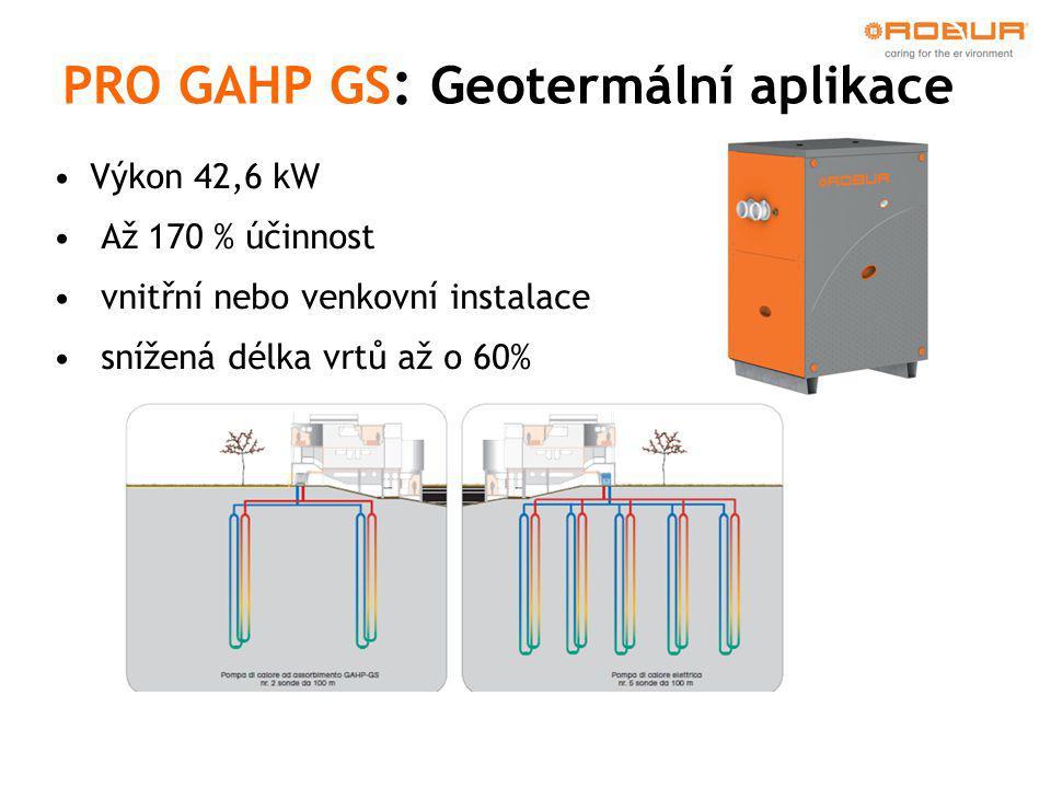•Výkon 42,6 kW • Až 170 % účinnost • vnitřní nebo venkovní instalace • snížená délka vrtů až o 60% PRO GAHP GS : Geotermální aplikace
