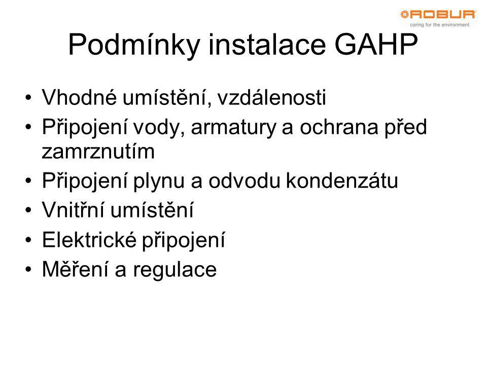 Podmínky instalace GAHP •Vhodné umístění, vzdálenosti •Připojení vody, armatury a ochrana před zamrznutím •Připojení plynu a odvodu kondenzátu •Vnitřní umístění •Elektrické připojení •Měření a regulace
