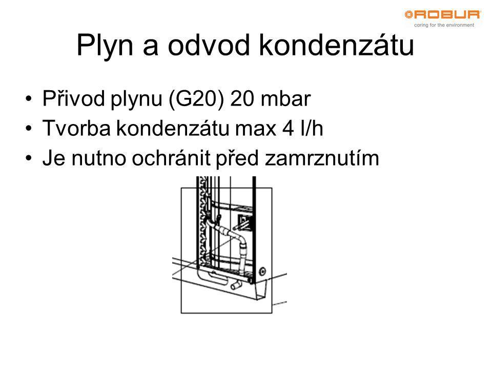 Plyn a odvod kondenzátu •Přivod plynu (G20) 20 mbar •Tvorba kondenzátu max 4 l/h •Je nutno ochránit před zamrznutím