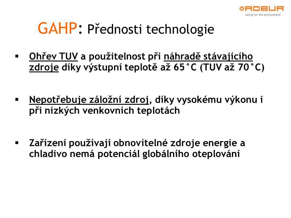 GAHP: Přednosti technologie  Jednoduchá instalace i díky potřebě jednofázového přívodu elektřiny  Odmrazovací cyklus nepřerušuje ohřev vody a neovlivní komfort při používání.