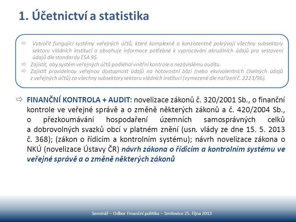 1. Účetnictví a statistika  FINANČNÍ KONTROLA + AUDIT: novelizace zákonů č. 320/2001 Sb., o finanční kontrole ve veřejné správě a o změně některých z