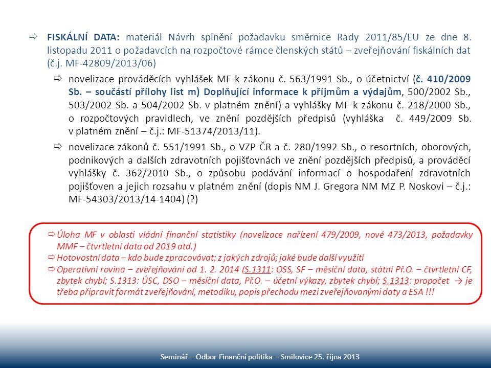  FISKÁLNÍ DATA: materiál Návrh splnění požadavku směrnice Rady 2011/85/EU ze dne 8. listopadu 2011 o požadavcích na rozpočtové rámce členských států