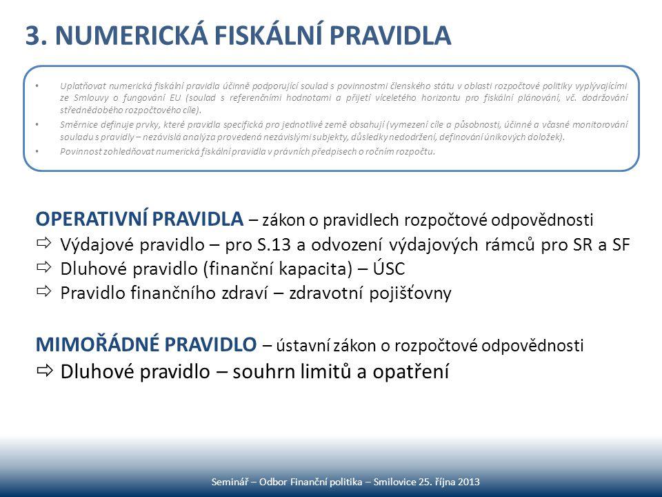 3. NUMERICKÁ FISKÁLNÍ PRAVIDLA Seminář – Odbor Finanční politika – Smilovice 25. října 2013 • Uplatňovat numerická fiskální pravidla účinně podporujíc