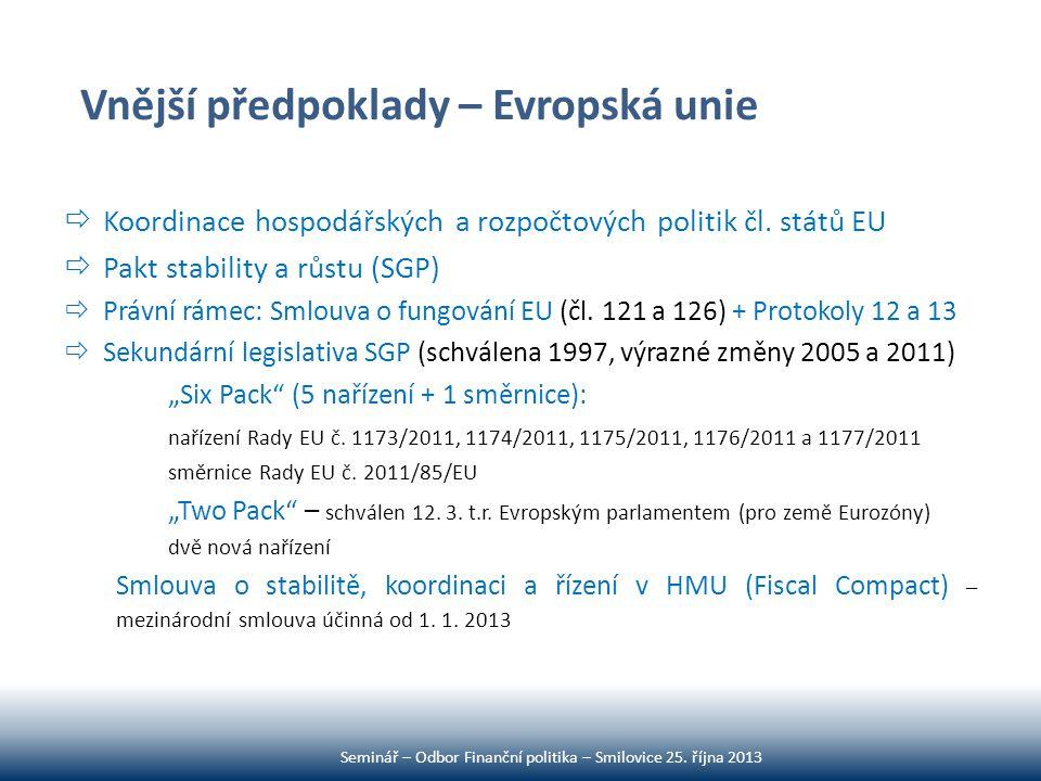 Vnější předpoklady – Evropská unie  Koordinace hospodářských a rozpočtových politik čl. států EU  Pakt stability a růstu (SGP)  Právní rámec: Smlou