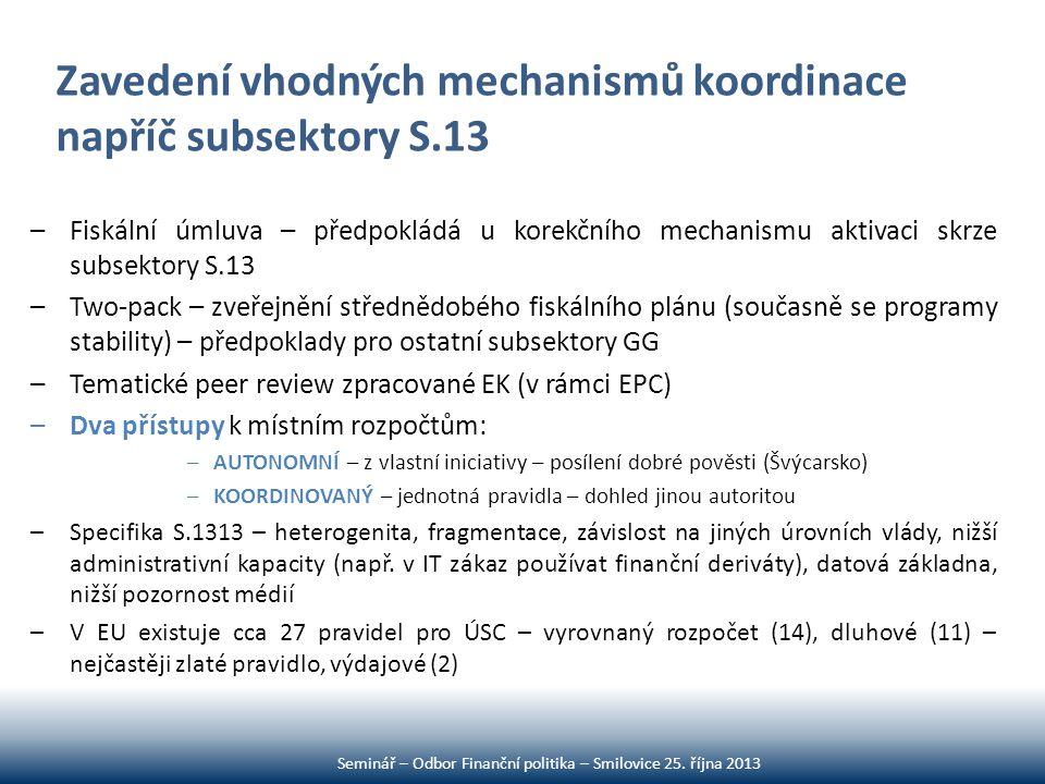 Zavedení vhodných mechanismů koordinace napříč subsektory S.13 –Fiskální úmluva – předpokládá u korekčního mechanismu aktivaci skrze subsektory S.13 –
