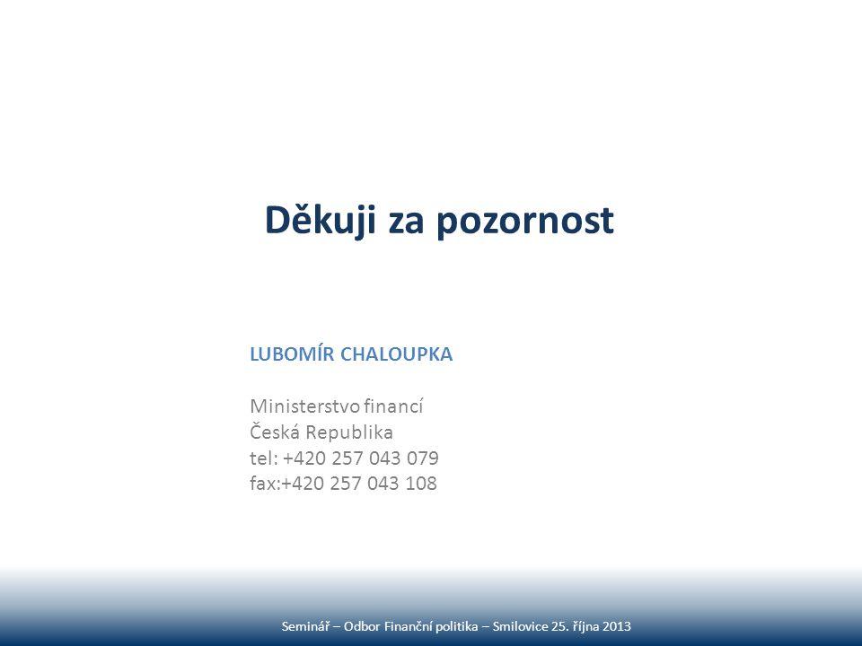 Děkuji za pozornost Seminář – Odbor Finanční politika – Smilovice 25. října 2013 LUBOMÍR CHALOUPKA Ministerstvo financí Česká Republika tel: +420 257