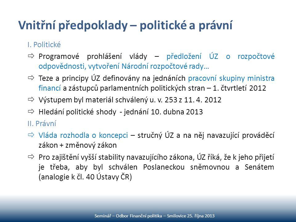 Vnitřní předpoklady – politické a právní I. Politické  Programové prohlášení vlády – předložení ÚZ o rozpočtové odpovědnosti, vytvoření Národní rozpo