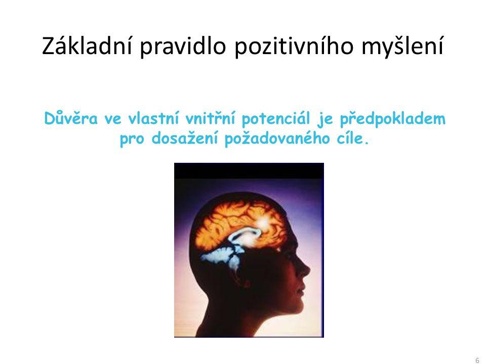 6 Základní pravidlo pozitivního myšlení Důvěra ve vlastní vnitřní potenciál je předpokladem pro dosažení požadovaného cíle.