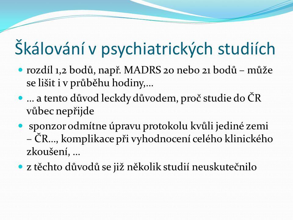 Škálování v psychiatrických studiích  rozdíl 1,2 bodů, např. MADRS 20 nebo 21 bodů – může se lišit i v průběhu hodiny,…  … a tento důvod leckdy důvo