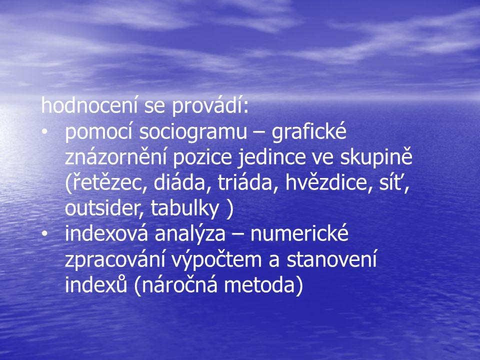 hodnocení se provádí: • pomocí sociogramu – grafické znázornění pozice jedince ve skupině (řetězec, diáda, triáda, hvězdice, síť, outsider, tabulky )