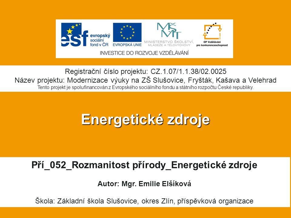 Energetické zdroje Pří_052_Rozmanitost přírody_Energetické zdroje Autor: Mgr.
