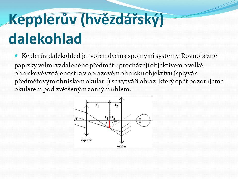 Kepplerův (hvězdářský) dalekohlad  Keplerův dalekohled je tvořen dvěma spojnými systémy. Rovnoběžné paprsky velmi vzdáleného předmětu procházejí obje